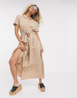 Vero Moda - Wadenlanges Hemdkleid inBraun-Bronze