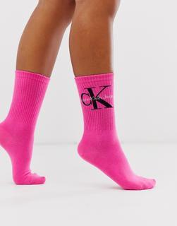 Calvin Klein - Jeans – Kurze Socken mit Logo in Rosa
