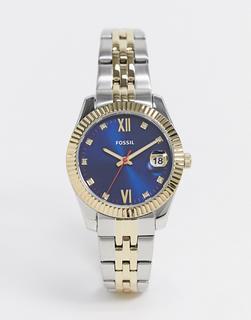 Fossil - Armbanduhr aus verschiedenen Metallen mit marinefarbenem Zifferblatt, ES4899-Mehrfarbig