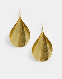 People Tree - Handgefertigte Ohrringe in geschwungenem Blattdesign-Gold
