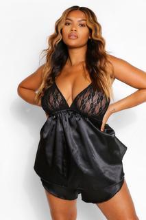 boohoo - Womens Plus Satin And Lace Trim Pj Short Set - Black - 28, Black