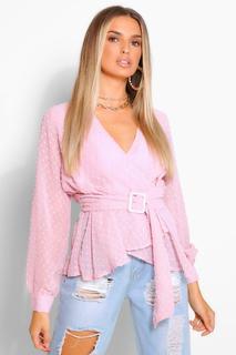 boohoo - Womens Dobby Chiffon Belted Wrap Blouse - Pink - 8, Pink