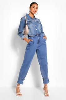 boohoo - Womens Denim Oversized Buckle Hem Mom Jean - Blue - 8, Blue