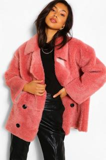 boohoo - Womens Zweireihiger Mantel Aus Teddy-Kunstpelz Mit Futter Aus Wildlederimitat - Rosé - 36, Rosé
