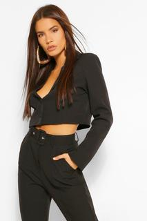 boohoo - Womens Woven Crop Button Blazer - Black - 8, Black