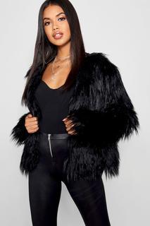 boohoo - Womens Shaggy Faux Fur Coat - Black - 12, Black
