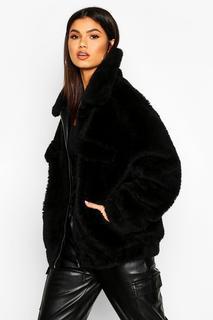 boohoo - Womens Oversized Teddy Faux Fur Trucker - Black - 8, Black