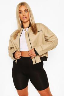 boohoo - Womens Plus Woven Zip Detail Bomber Jacket - Beige - 20, Beige