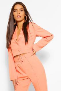 boohoo - Womens Woven Crop Button Blazer - Orange - 10, Orange