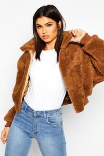 boohoo - Womens Crop Faux Teddy Fur Bomber Jacket - Beige - 10, Beige