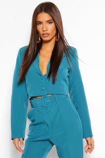 boohoo - Womens Woven Crop Button Blazer - Green - 12, Green