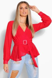 boohoo - Womens Dobby Chiffon Belted Wrap Blouse - Red - 16, Red