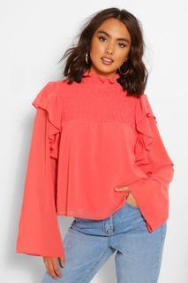 boohoo - Womens Woven Shirred Ruffle High Neck Blouse - Orange - 8, Orange