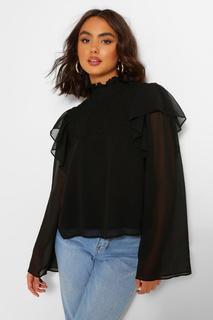 boohoo - Womens Woven Shirred Ruffle High Neck Blouse - Black - 12, Black