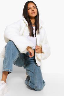 boohoo - Womens Crop Teddy Faux Fur Bomber Jacket - White - 14, White