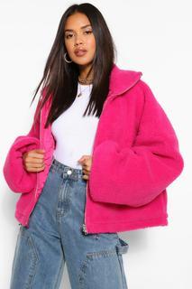 boohoo - Womens Crop Teddy Faux Fur Bomber Jacket - Pink - 8, Pink
