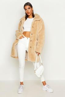 boohoo - Womens Button Through Teddy Faux Fur Coat - Beige - 8, Beige