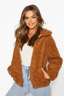 boohoo - Womens Teddy Faux Fur Bomber Jacket - Beige - 8, Beige
