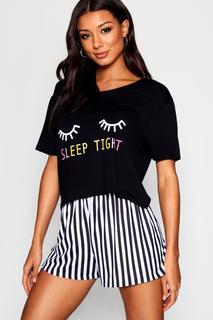 boohoo - Womens Sleep Tight Pj Short Set - Black - S, Black