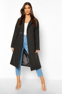 boohoo - Womens Zweireihiger Mantel In Wolloptik Mit Gürtel - Anthrazit - 38, Anthrazit