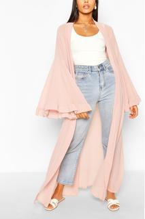 boohoo - Womens Wide Sleeve Maxi Kimono - Pink - L, Pink
