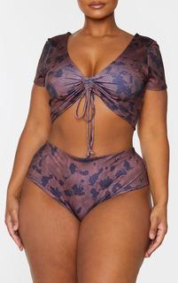PrettyLittleThing - Plus Mauve Tie Dye Bikini Bottom, Purple