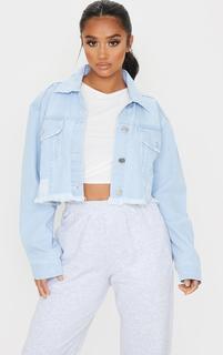 PrettyLittleThing - Petite Bleach Raw Hem Cropped Denim Jacket, Blue