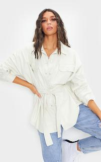 PrettyLittleThing - White PU Long Line Dipped Hem Belted Shacket, White