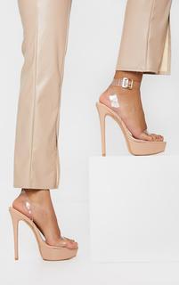 PrettyLittleThing - Nude Patent PU Platform Clear Strap High Heel, Pink