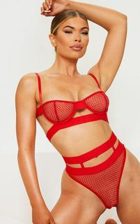 PrettyLittleThing - Red Cut Out Mesh Underwired Lingerie Set, Red