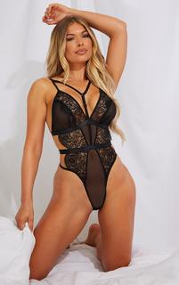 PrettyLittleThing - Black Strappy Harness Lace Body, Black