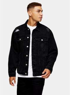 Topman - Mens Black Ripped Denim Jacket, Black