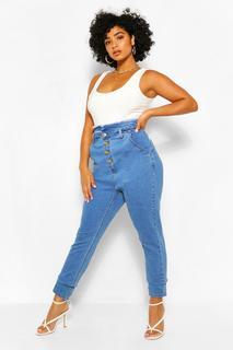 boohoo - Womens Plus High-Waist Skinny Jeans Mit Destroyed-Optik Und Gürtel - Mittelblau - 48, Mittelblau