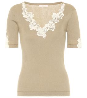 Chloé - T-Shirt aus Baumwolle mit Spitze