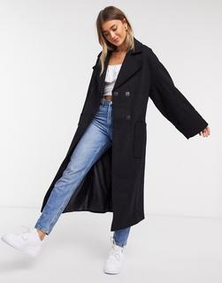 ASOS DESIGN - Lässiger Mantel mit Gürtel in Schwarz