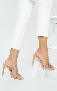 PrettyLittleThing - Nude Lycra Extreme Square Toe Twin Strap Mule High Heels, Pink