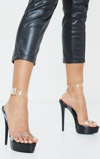 PrettyLittleThing - Black Patent Pu Platform Clear Strap High Heels, Black