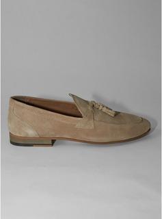 Topman - Mens Brown Beige Real Suede Colburn Tassel Loafers, Brown