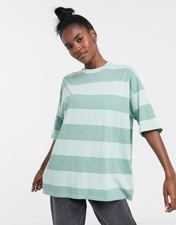ASOS DESIGN - Oversize-T-Shirt mit farblich abgestimmtem, verwaschenem Streifenmuster-Grün