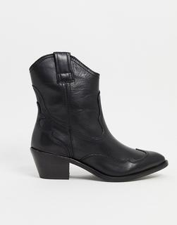 AllSaints - Shira – Schwarze Lederstiefel im Westernstil