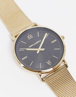ASOS DESIGN - Goldfarbene Uhr mit Netzstoffarmband