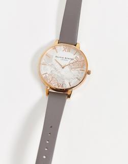 Olivia Burton - Uhr mit abstrakt geblümtem Lederarmband in Grau und Roségold