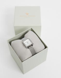 Olivia Burton - Eckige Uhr mit silbernem Netzarmband