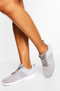 boohoo - Womens Speckle Knitted Running Trainers - Grey - 3, Grey
