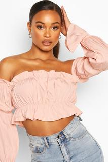 boohoo - Womens Off The Shoulder Long Sleeve Crop Top - Pink - 14, Pink