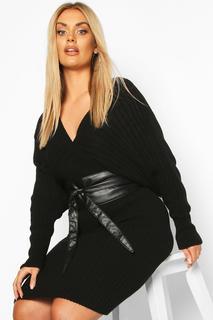 boohoo - Womens Plus Wrap Pu Obi Belt - Black - One Size, Black