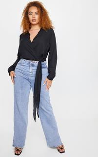 PrettyLittleThing - Plus Avalyn Black Wrap Front Tie Side Blouse, Black