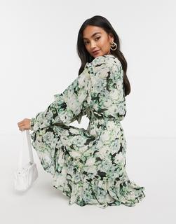 Vero Moda - Skater-Kleid mit Rüschendetail und Blumenmuster in Grün-Mehrfarbig