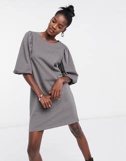ONLY - Graues Sweatshirt-Kleid mit Ballonärmeln