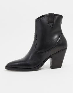 AllSaints - Rolene – Westernstiefel mit Absatz aus schwarzem Leder